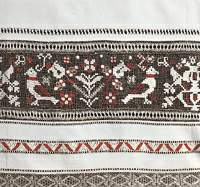 An embroidered net in the bed-cloth. Gerlachov, eastern Slovakia, the first half of the 20th century