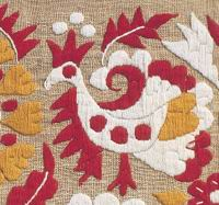 Embroidered bird motif at the traditional textile from the west Slovakia, 19th century