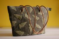Bag by Peter Humaj, hemp canvas, relief decor