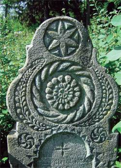 Decorated tombstone, south of middle Slovakia, 90. of the 19th century
