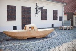 Benches placed at the square in Devín, made by Jakub and Oto Bachorík